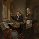 Hendrick Heerschop, 1668 - Visit to the Doctor - fine art print - Canvas print / 100x120cm - 39x47\