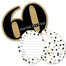 Big Dot of Happiness Adult 60th Birthday - Gold - Shaped Fill-In Invitations - Birthday Party Invitation Cards with Envelopes - Set of 12