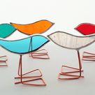 Set of 5 teeny multi colour stained glass bird ornaments, standing birds, bird lover gift, little birds, little chicks