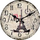 MEISTAR Wooden Antique Classic Retro Vintage Style Cafe Decorative Wall Clock,Silent Quart Wall Clock for Kids Room,Living Room,Kitchen,Bedroom,Office - French Eiffel Tower / 6 inch