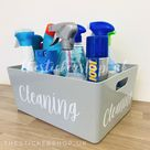 LARGE GREY STORAGE Box Personalised Home Organisation Caddy Tub Cleaning Organiser Inspired by Mrs Hinch Inspired Hinching Laundry Basket