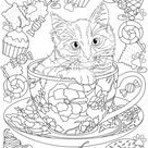 Kitty in a Cup - Printable Adult Coloring Page from Favoreads (Coloring book pages for adults and kids, Coloring sheets, Coloring designs)