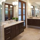 Master Bathroom Dark Wood Contemporary Cabinets - Cabinets of the Desert