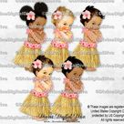 Hawaiian Luau Hula Tropical Coral Peach Pink Hibiscus Flower Lei Grass Skirt | Baby Girl 3 Skin Tones | Clipart Instant Download