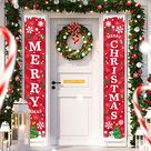 Christmas Porch Decorations Door Banner - Outdoor Xmas Decor Set - Front Door Red Merry Christmas Sign for City, Coun...