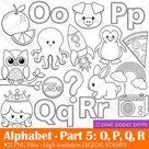 Alphabet Digital Stamps  Part 5 - OPQR clip art - School clipart