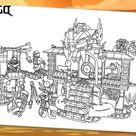 Coloring LEGO Ninjago : Enter the Serpent, Lloyd, Jay, Chen, Kapau'rai and Zugu