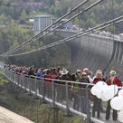 German footbridge offers dizzying walk over river valley