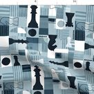Game Night Fabric - Abstract Chess Set By Adenaj - Blue Black White King Queen Knights Chess Cotton Fabric By The Yard With Spoonflower