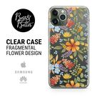 Flowers case Floral Pattern Gift for her Transparent Clear Ruber with hragmental design print for iPhone SAMSUNG & HUAWEI phone cover X2