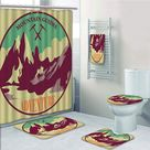 Adventure Journey Mountain Guides Trekking Climbing Camps Tourism Vivid Colorful 5 Pcs Bath Curtain Towel Rug Contour Mat Toilet Lid Cover