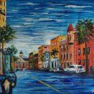 Board Street, Charleston, South Carolina-KoKing FORT-h2-Home Decor Holiday Artwork Texture Painting Dining Wall Art