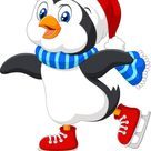 Cute cartoon penguin doing ice skating isolated vector image on VectorStock