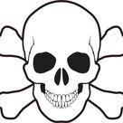 5in X 5in Skull and Cross Bones Bumper Sticker Vinyl Truck Window Decal