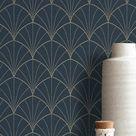 Das Schlafzimmer einrichten mit Tapete Violante Blau und Gold