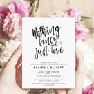 Nothing fancy just love wedding invitation, Funny Elopement announcement, Reception invitation template Digital download, Editable 5x7 #50FD