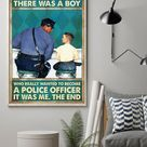Professions Poster   Boy Wanted To Become Police Officer Vertical Canvas And Poster   Wall Decor Visual Art