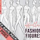 9 Realistic Skin tone Colored Rear View Feminine Hourglass Pose Fashion Figure/Croqui Templates, Background Less PNG, 10 Head Model Figures