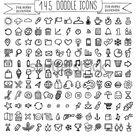 Vektordoodle Symbole. Universal Set. Stock Vektorgrafik Lizenzfrei 196917659