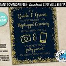 Unplugged Wedding Ceremony Sign   No Cell Phone Sign   Sparkle Wedding Sign   Glitter Wedding Sign