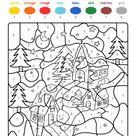 Coloriage magique d'un paysage d'hiver