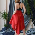 Lovely Red Midi Maxi Skirt, Red Women Skirt