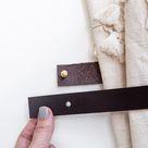 Leather Curtain Tieback [Flat End] - Chocolate / Set of 2 tiebacks / Steel