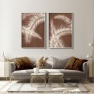 Abstract Botanical Art Set of 2 Prints, Boho Gallery Wall art, Mid century Modern Printable Art, Tropical Leaves Art, Brown Beige Palm Leaf