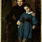Auguste de Châtillon, 1836 - Portrait of Victor Hugo with his son François-Victor Hugo - fine art print - Canvas print / 30x60cm - 12x24