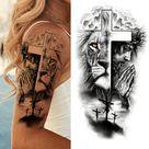 Full Arm Temporary Tattoos Sleeve For Men Women Realistic Fake Tatoos Warrior Lion Tiger Flower Tatoo Sticker Black Totem Maori 924-1