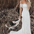 Stunning Country Lace Mermaid Off Shoulder Wedding Dress Rustic Wedding,GDC1025   Default Title