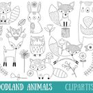 Woodland Animals Digital Stamp   Line Art   EPS Vector Graphics   Coloring Page