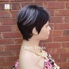 Short Razor Cut Full Wig, Pixie Cut Hairstyle, 100%  Human Hair Wig, Ombre Silver Gray // GOD'S GRACE