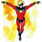 Captain Marvel Watercolor Illustration Mar-vell Marvel  by MikeMcKone