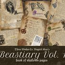 Beastiary Book of Shadows Pages Vol 1, Magical Creatures, Scrapbook, Grimoire Kit, Spell Book, Wicca, Pagan, Junk Journal, Digital Download