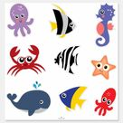 Cute Set of Stickers Under the Sea Creatures