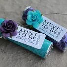 Unique wedding details, ivory lace and purple wedding mints, personalized tag reads MINT TO BE, enga