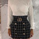 Grid Double-Breasted High Waist Mini Skirt (S/M/L/XL) $29.99