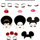 Girls with lashes bundle, lips and genie ponytail, Glamour women with Afro hair in SVG, EPS, PDF, DXF, PNG formats afro hair woman, woman with lashes, genie ponytail, cricut, silhouette cameo, vinyl decal, t shirt design, mtc scal, iron on vinyl, heat transfer vinyl, htv svg, cutfile, cut file, clipart