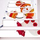 Autocollants escalier à motif bonhomme de neige avec écharpe Autocollant mural Décoration de noël Décalcomanies