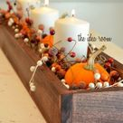 Inspirational Holiday Table Setting & Centerpiece Ideas   Thanksgiving table centerpiece, Fall thanksgiving, Fall centerpiece