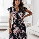 Summer ruffled short sleeve V-neck digital print dress female - Apricot, XXL
