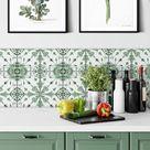 Fliesenaufkleber Watercolor - Blume Grün - 12er Set - Hochglanz: 10x10 cm - wall-art.de