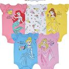 Disney Princess Cinderella Belle Aurora Ariel Baby Girls 5 Pack Bodysuit - 6-9 Months