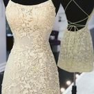 Cute Backless Yellow Lace Short Prom Dress, Yellow Lace Formal Graduation Homecoming Dress   As Picture / US4