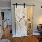 Custom Made Different Stripes Design Modern Farmhouse Sliding Barn Door Contemporary Barn Door Interior Doors - Door Primed Only