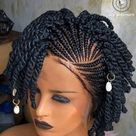 Passion twist wig, Spring twist wig, Natural Short kinky twist braid wig for black women, lace front wig