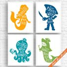 Unisex Kids Funny Bathroom (A) - Set of 4 Unframed Art Prints (Featured in Sunrise, Deep Sea, Ocean and Green) Boys and Girls Bath Poster