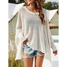 Casual Loose Hollow V Neck Long Batwing Sleeves Knitwear   WHITE, L