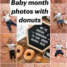 Baby month photos with donuts